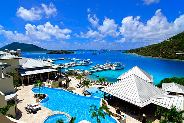 British Virgin Islands, SCRUB Island, wide OVERVIEW pools to marina & sea