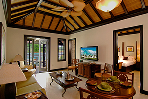 Caribbean, British Virgin Islands, Scrub Island, Suite Living Area, view to Bedroom, & sea view